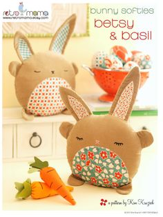 Stuffed Animals: PDF Sewing Pattern Betsy & Basil Bunny Softies - I am going to make these for the girls next Easter. Softies, Plushies, Easter Crafts, Felt Crafts, Fabric Crafts, Easter Decor, Sewing Toys, Sewing Crafts, Sewing Projects