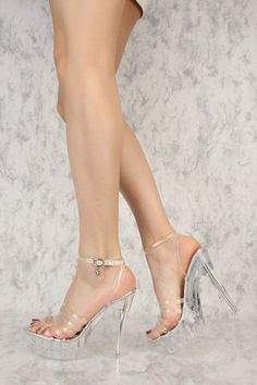 Silver Clear Strappy Open Toe Platform Pump High Heels Faux Leather