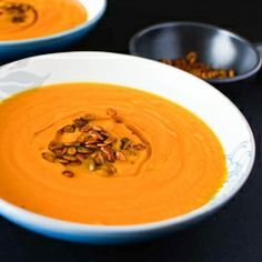 A new take on the pumpkin soup...Roasted pumpking and garlic with spiced pepitas.