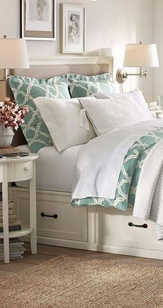 Kendra Trellis Collection...I like the storage space under the bed and the two lamps on the wall..