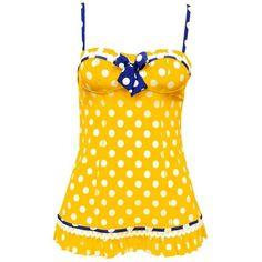 Amazon.com: Betsey Johnson Lets Polka One Piece Swim Dress: Betsey... by None, via Polyvore