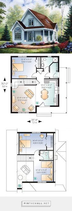 Country Style House Plan 64983 with 2 Bed, 2 Bath – Homes - architecture house Sims House Plans, Family House Plans, Country Style House Plans, New House Plans, Dream House Plans, Small House Plans, House Floor Plans, Little House Plans, Cottage Floor Plans
