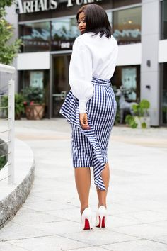 Milly cascading gingham skirt www. African Lace Dresses, Latest African Fashion Dresses, African Dresses For Women, African Print Fashion, African Wear, Ankara Fashion, Africa Fashion, African Prints, African Attire