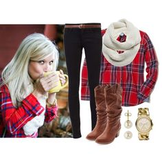 Plaid, skinnies and boots