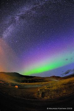 Aurora Borealis and the Milkyway. Taken in Iceland.