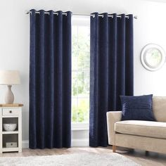 Crafted with soft chenille textured fabric with a subtle sheen finish, these deep navy blue Chenille curtains are fully lined, complete with a modern eyelet hea. Navy Curtains Bedroom, Blue Curtains Living Room, Curtains For Grey Walls, Navy Blue Curtains, Navy Bedrooms, Navy Living Rooms, Colorful Curtains, Blue Rooms, Houses