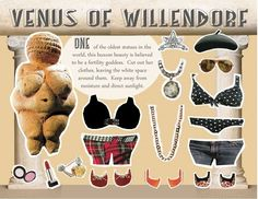 A Collection of Incredibly Bizarre Pop-Culture Paper Dolls – Flavorwire History Jokes, Art History, History Images, Venus Of Willendorf, High School Art, Famous Words, Ap Art, Teaching Art, Writing A Book