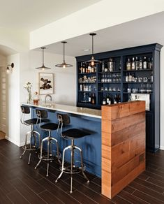 Ideas:Navy Blue Bar Triple Black Bar Stools Dark Brown Flooring Simple Lighting White Wall Paint Home Bar Ideas for a Classy Entertainment Space