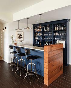 Ideas:Navy Blue Bar Triple Black Bar Stools Dark Brown Flooring Simple Lighting White Wall Paint Home Bar Ideas for a Classy Entertainment Space