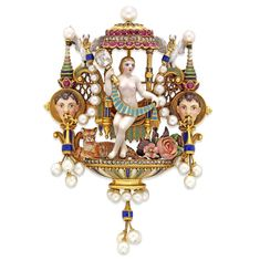 Giuliano Renaissance-Revival gold & enamel gem-set brooch, the brooch decorated w/the figure of Venus enamelled en ronde bosse, holding up a diamond-set mirror & an enamelled drape, seated under a canopy set w/ cushion-shaped rubies & rose-cut diamonds, a tiger couchant & a spray of pink roses at her feet, flanked by a pair of white doves holding pearl garlands connected to a pair of male mask heads supporting pearl fringes, an additional pearl fringe at the base, circa 1890
