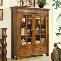 Craftsman Home Door Bookcase I Riverside Furniture  -Music room/library