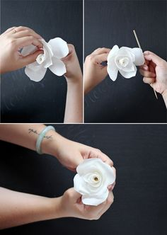DIY Coffee Filter Flowers - could use watercolor to make purple flowers for centerpieces -Rachel