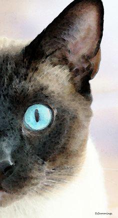 Siamese Painting - Siamese Cat Art - Half The Story by Sharon Cummings