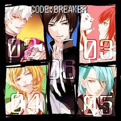 Code:Breaker. This is great because it numbers them: Tenpouin Yuuki (3), Ogami Rei (6), Fujiwara Toki (4), Heike Masaomi (2), and Rui Hachiouji (5)