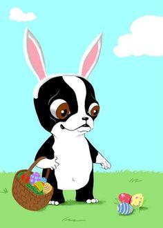 Boston Terrier Easter Bunny dog art. $18.00, via Etsy.