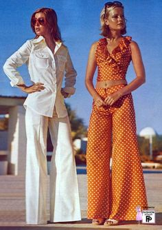 1970s pantsuit fashions. - 70s Vintage Fashion, trousers were very, very flared.
