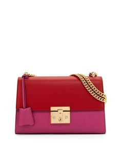 Linea+C+Leather+Lock+Shoulder+Bag,+Red/Pink+by+Gucci+at+Neiman+Marcus.