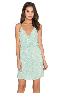 MLV Mira Spaghetti Strap Sequin Dress in Mint