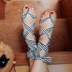 Ribbon lace up sandals - nautical stripes - raramuri sandals Nautical Stripes, Lace Up Sandals, Ribbon, Paris, Instagram, Photos, Style, Fashion, Tape