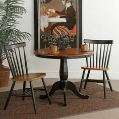 International Concepts Piperton 36 in. Round Pedestal Dining Table Set with 2 Copenhagen Chairs, Black