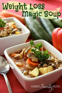 Magic Weight Loss Ingredients: 2 cans chicken broth (you may use low-sodium) 3 cups V-8 juice (you can use low-sodium V8 or even tomato juice, homemade or store bought) 2 cans Italian diced tomatoes 1 small onion 2 cloves minced garlic 1 package sliced mushrooms 3 carrots, peeled and sliced 1 zucchini, diced 1 yellow squash, diced 2 cups fresh or frozen green beans 1 can kidney beans, drained and rinsed 3-4 cups shredded cabbage 1 tsp. Italian seasoning Salt and Pepper to taste