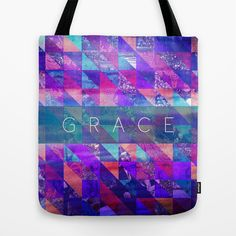 "2+Corinthians+12:9+""Grace""+(purple+triangles)+Tote+Bag+by+Pocket+Fuel+-+$22.00"