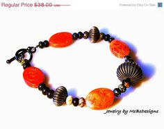 ON SALE Red Sponge Coral Bracelet Bangle Cuff by MsBsDesigns, $28.50
