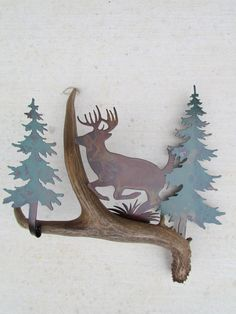 B105)  Whitetail Deer Leaping, Authentic Antler & Metal Wall Art
