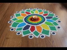 Simple , Easy and Quick freehand Rangoli designs with colours/ Rangoli Designs by Shital Daga Indian Rangoli Designs, Simple Rangoli Designs Images, Rangoli Designs Flower, Rangoli Ideas, Rangoli Designs With Dots, Flower Rangoli, Beautiful Rangoli Designs, Easy Rangoli, Diwali Rangoli