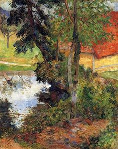 Red+roof+by+the+water+-+Paul+Gauguin