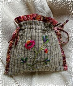 Embroidery Bags, Silk Ribbon Embroidery, Embroidery Stitches, Potli Bags, Sewing Baskets, Boho Bags, Craft Bags, Fabric Bags, Wool Applique