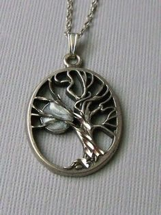 Silver Mystical Tree Necklace by pinkingedgedesigns on Etsy, $22.00