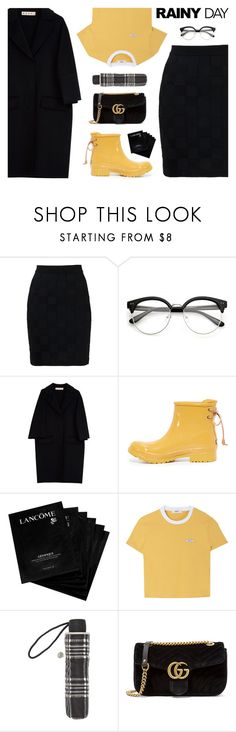 """Splish Splash: Rainy Day Style"" by catchsomeraes ❤ liked on Polyvore featuring Balmain, Marni, Sperry, Lancôme, John Lewis, Gucci, rainyday and gucci"