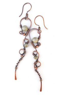 Bohemian earrings wire wrapped earrings by Kissedbyclover