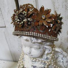 Statue tiara crown brass French Santos by AnitaSperoDesign on Etsy, $175.00