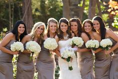taupe bridesmaid dresses with white hydrangea bouquets