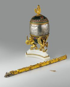 The Trans-Siberian Railway Egg is a jewelled Easter egg made under the supervision of the Russian jeweller Peter Carl Fabergé in 1900 for Tsar Nicholas II of Russia. It was presented by Nicolas II as an Easter gift to his wife, the Tsarina Alexandra Fyodorovna.