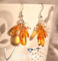 Sterling silver earrings with natural Baltic amber by byVellamo, $25.50
