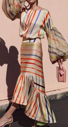 Boat Neck Stripe Stitched Lantern Long Sleeve Maxi Dresses for Women Maxi Wrap Dress, Maxi Dress With Sleeves, Boho Dress, Long Sleeve Maxi, Striped Maxi, Striped Style, Stripes Fashion, Mode Vintage, Fashion Dresses