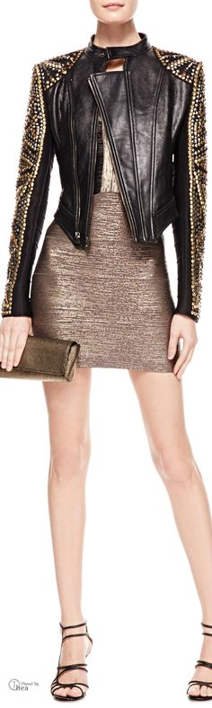 Herve Leger ● Studded  Leather Jacket & Two-Tone Metallic Bandage Dress