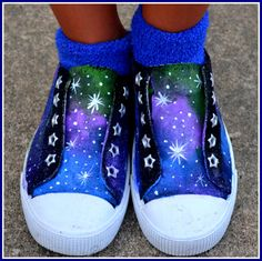Painted Shoes Doctor Who Shoes Galaxy Shoes Child's by PricklyPaw, $42.15
