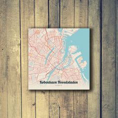 Gallery Wrapped Map Canvas of Copenhagen Denmark - Lobster Retro - Copenhagen Map Art