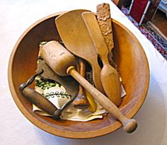 Primitive woodenware bowl and kitchen assortment for sale at More Than McCoy on TIAS!