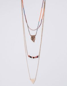 THIN CHAIN NECKLACE WITH BEADS JEWELLERY - WOMAN PULL&BEAR Egypt