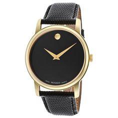 $300 Movado Men's 'Collection' Yellow Goldplated Swiss Quartz Watch - Rakuten.com