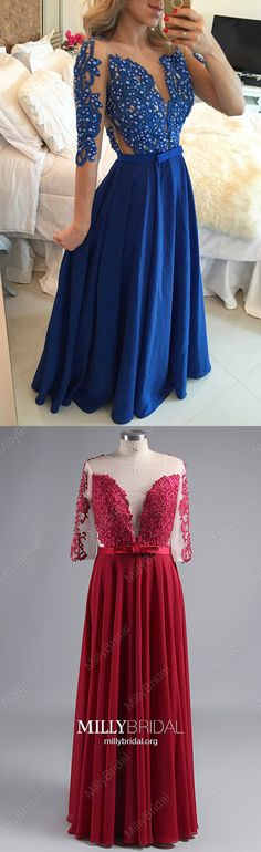 Long Prom Dresses with Sleeves,Royal Blue Prom Dresses A-line,Modest Prom Dresses Lace,Chiffon Tulle Prom Dresses Sparkly