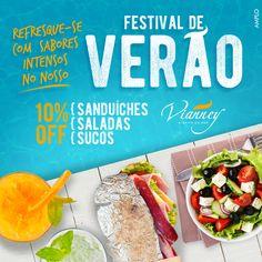 Delicioso Festival de sucos, saldas e sanduíches com 10% de desconto. Dia 07/01