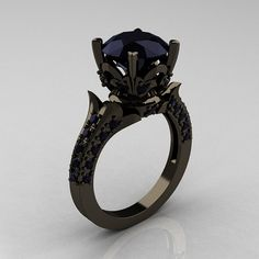 Classic French 14K Black Gold 30 Carat Black Diamond by artmasters, $2149.00