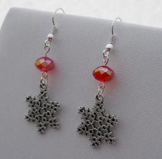 Snow Flake Dangle Earrings - Red Crystal by talenaztreasurez for $8.00