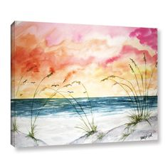 ArtWall Derek Mccrea 'Abstract Seascape' Gallery-wrapped Canvas is a high-quality reproduction depicting thick, sun-kissed clouds suspended over a stretch of sparkling water. A majestic addition to any home or office.